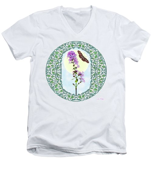 Lilac With Butterfly Men's V-Neck T-Shirt by Lise Winne