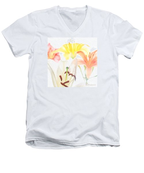 Men's V-Neck T-Shirt featuring the photograph Lilies by David Perry Lawrence
