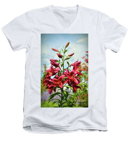 Men's V-Neck T-Shirt featuring the photograph Lilies In The Garden by Kerri Farley