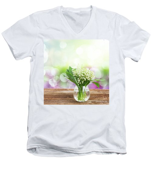 Lilly Of Valley Posy In Glass Men's V-Neck T-Shirt