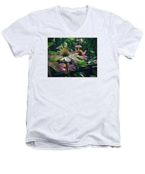 Men's V-Neck T-Shirt featuring the digital art Lil's Garden by Phil Mancuso