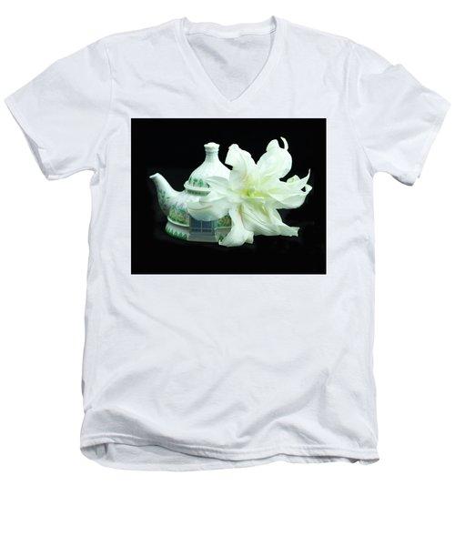 Lily And Teapot Men's V-Neck T-Shirt