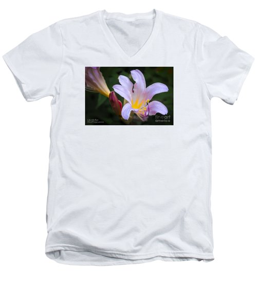 Men's V-Neck T-Shirt featuring the photograph Lily In The Rain By Flower Photographer David Perry Lawrence by David Perry Lawrence