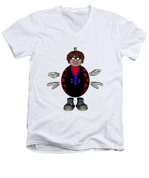 Lily The Ladybug Men's V-Neck T-Shirt by Steve Kelly