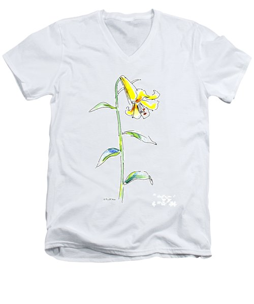 Lily Watercolor Painting 2 Men's V-Neck T-Shirt