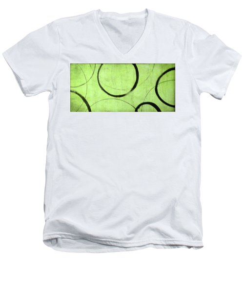 Men's V-Neck T-Shirt featuring the painting Lime Ensos by Julie Niemela