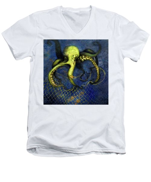 Lime Green Octopus With Net Men's V-Neck T-Shirt