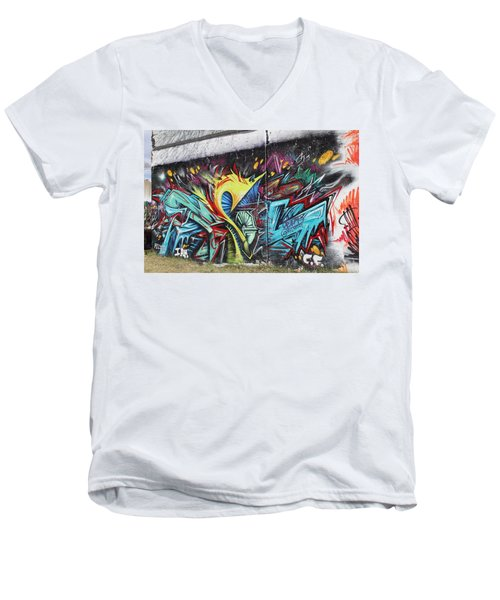 Men's V-Neck T-Shirt featuring the painting Lincoln Street by Sheila Mcdonald