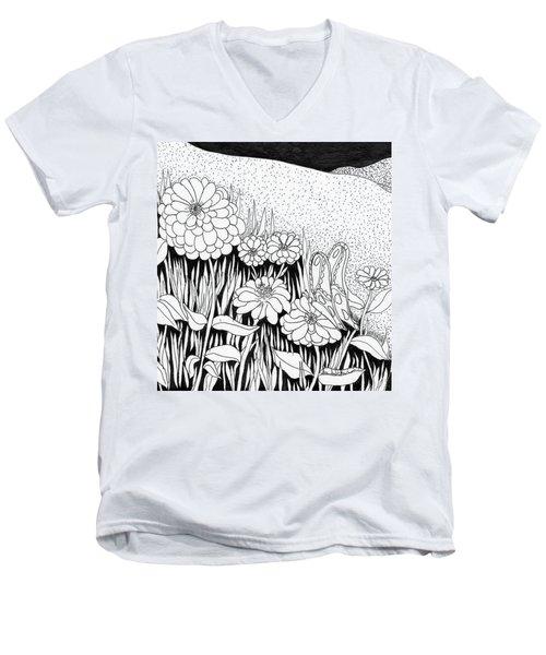 Linda's Garden Men's V-Neck T-Shirt by Lou Belcher