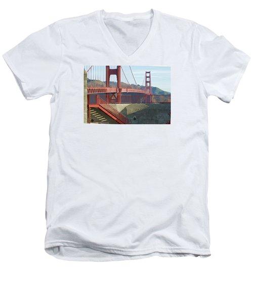 Men's V-Neck T-Shirt featuring the photograph Linear Golden Gate Bridge by Steve Siri