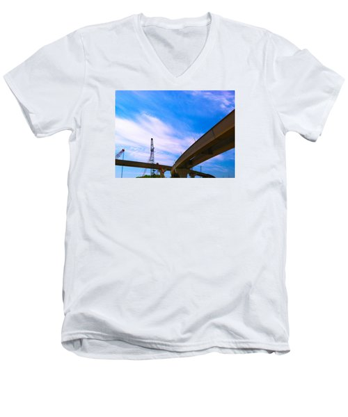 Men's V-Neck T-Shirt featuring the photograph Lineing The Sky by Jamie Lynn