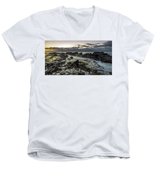 Lines Of Time Men's V-Neck T-Shirt by Mark Lucey