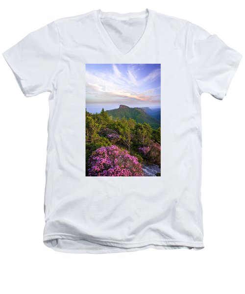 Linville Gorge Spring Bloom Men's V-Neck T-Shirt by Serge Skiba