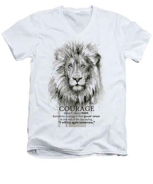 Lion Courage Motivational Quote Watercolor Animal Men's V-Neck T-Shirt