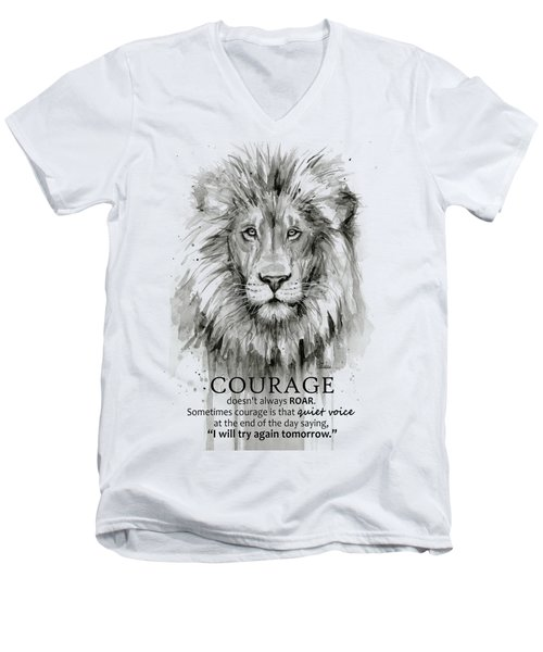 Lion Courage Motivational Quote Watercolor Animal Men's V-Neck T-Shirt