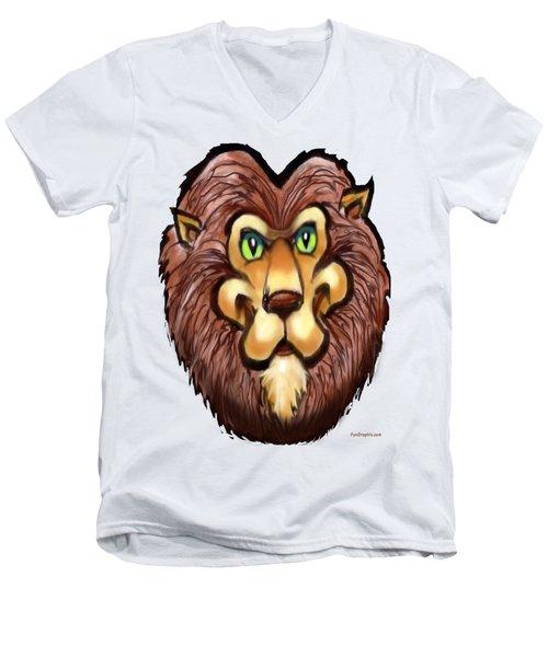 Lion Men's V-Neck T-Shirt by Kevin Middleton