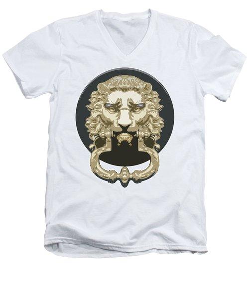 Lion Knocker Men's V-Neck T-Shirt