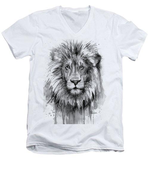 Lion Watercolor  Men's V-Neck T-Shirt