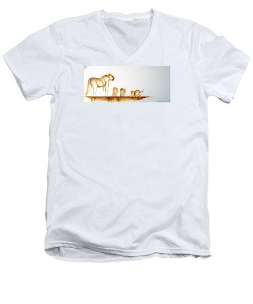 Lioness And Cubs Small - Original Artwork Men's V-Neck T-Shirt