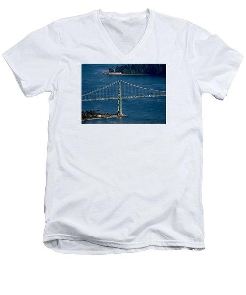 Lions Gate Bridge And Brockton Point Men's V-Neck T-Shirt