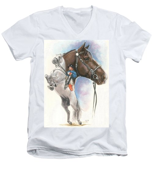 Men's V-Neck T-Shirt featuring the mixed media Lippizaner by Barbara Keith