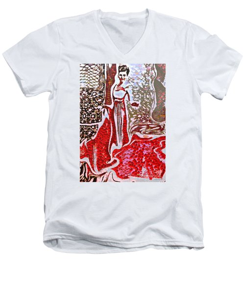 Liquid Red Men's V-Neck T-Shirt