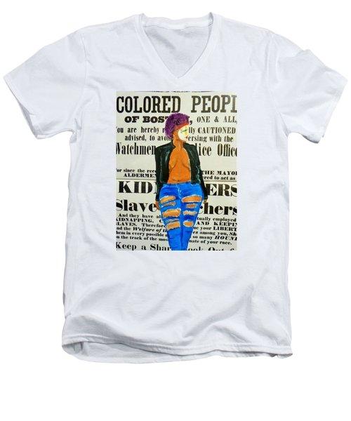 Lisa  Caution Men's V-Neck T-Shirt