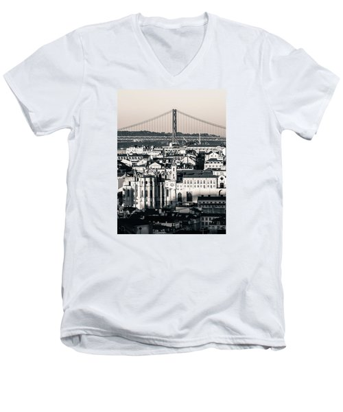 Lisbon In Black And White Men's V-Neck T-Shirt