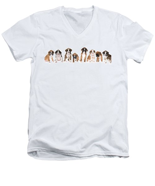 Litter Of Boxer Puppies Men's V-Neck T-Shirt by Diane Diederich