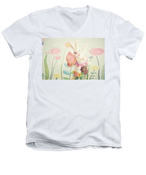 Little Bunny In The Garden Men's V-Neck T-Shirt by Toni Hopper