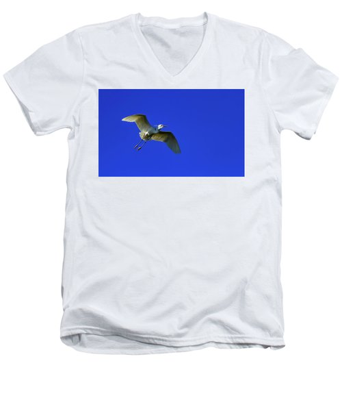 Little Egret, Egretta Garzetta Men's V-Neck T-Shirt