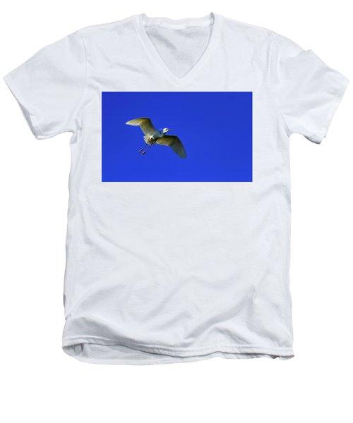 Little Egret, Egretta Garzetta Men's V-Neck T-Shirt