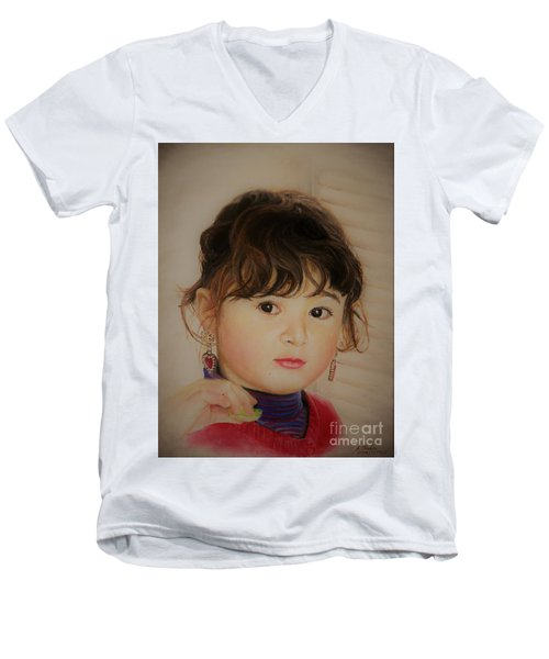 Little Girl Men's V-Neck T-Shirt