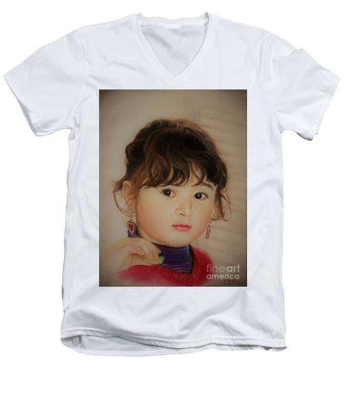 Little Girl Men's V-Neck T-Shirt