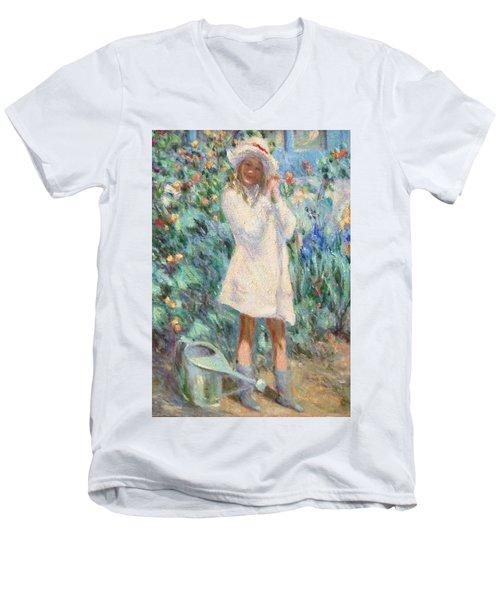 Little Girl With Roses / Detail Men's V-Neck T-Shirt
