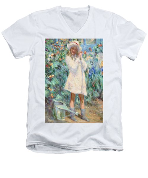 Little Girl With Roses / Detail Men's V-Neck T-Shirt