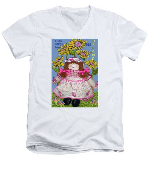 Little Girls Have Big Dreams Men's V-Neck T-Shirt by Suzanne Theis