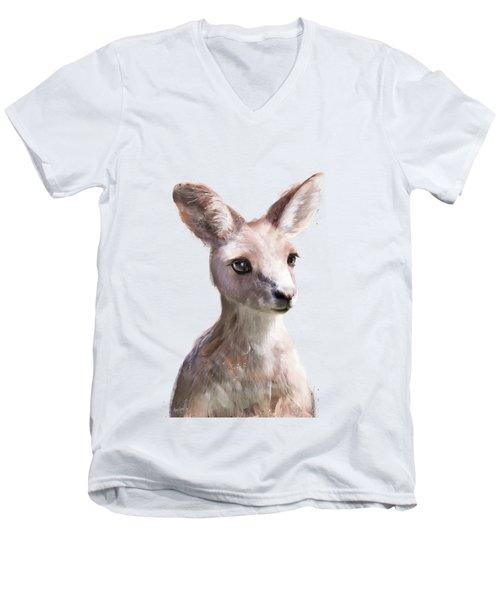 Little Kangaroo Men's V-Neck T-Shirt by Amy Hamilton