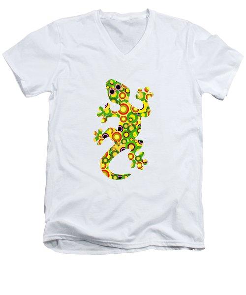 Little Lizard - Animal Art Men's V-Neck T-Shirt by Anastasiya Malakhova
