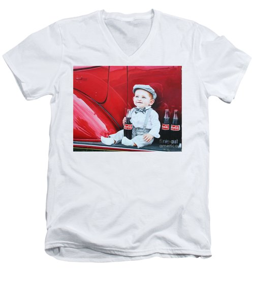 Men's V-Neck T-Shirt featuring the painting Little Mason by Mike Ivey