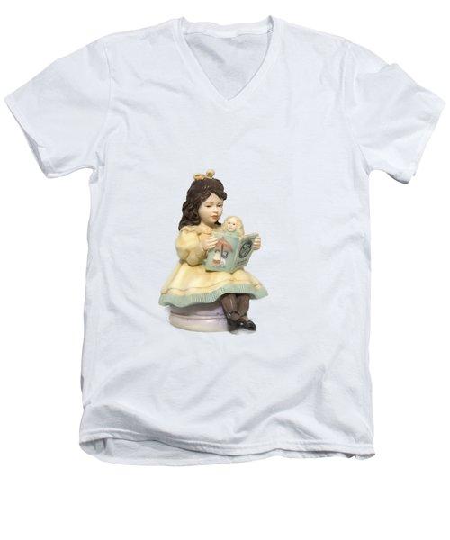 Little Miss Muffet Cutout Men's V-Neck T-Shirt by Linda Phelps