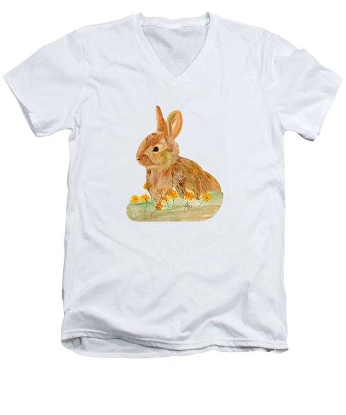 Little Rabbit Men's V-Neck T-Shirt by Angeles M Pomata