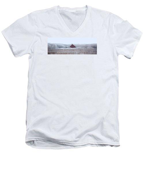 Little Red House Men's V-Neck T-Shirt by Ellery Russell
