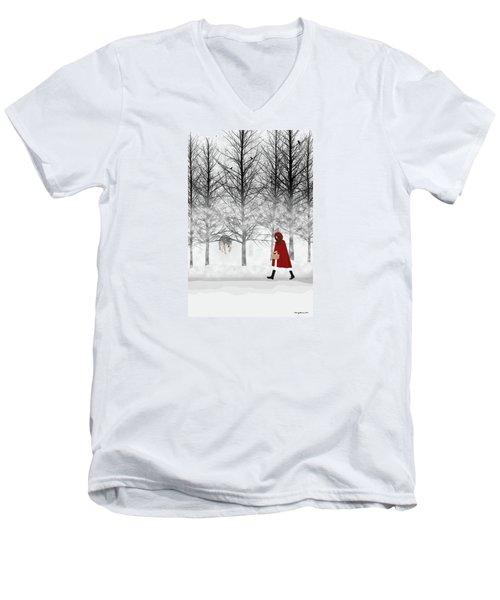 Men's V-Neck T-Shirt featuring the digital art Little Red by Nancy Levan