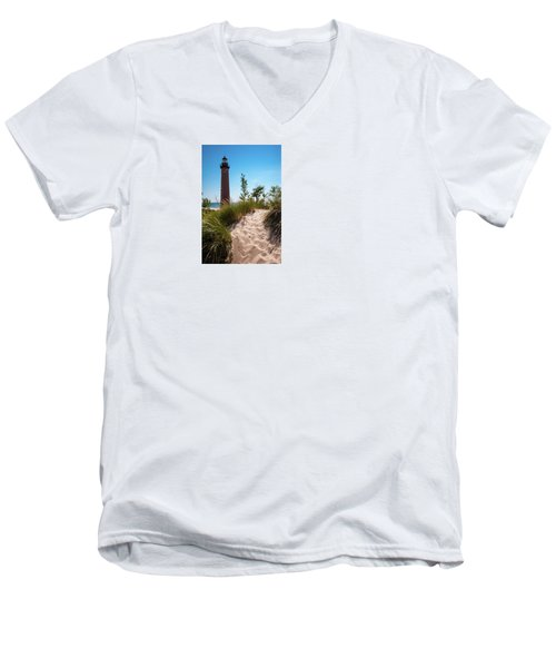 Men's V-Neck T-Shirt featuring the photograph Little Sable Light Station - Film Scan by Larry Carr
