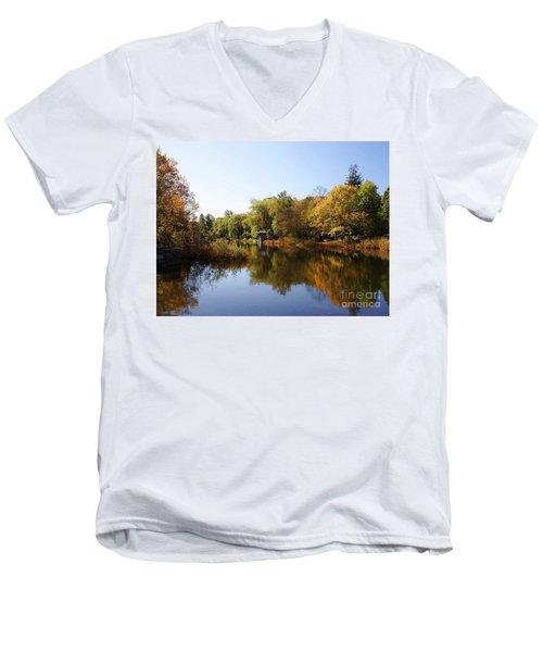 Little Shawme Pond In Sandwich Massachusetts Men's V-Neck T-Shirt by Rod Jellison
