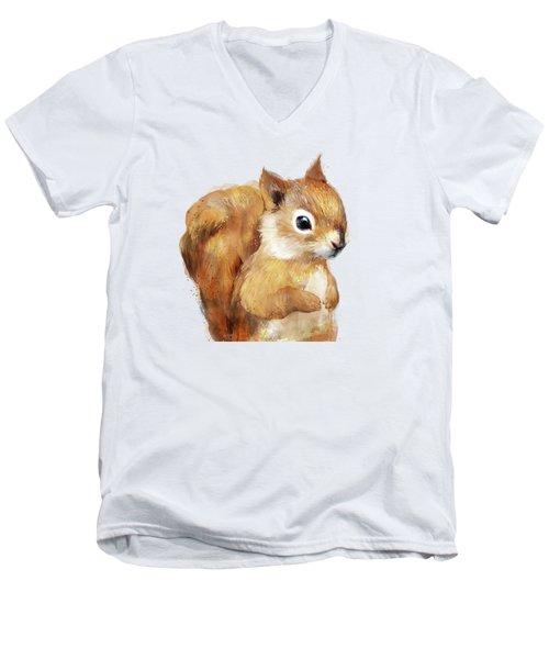 Little Squirrel Men's V-Neck T-Shirt by Amy Hamilton