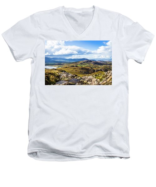 Men's V-Neck T-Shirt featuring the photograph Little Stream Running Down The Macgillycuddy's Reeks by Semmick Photo