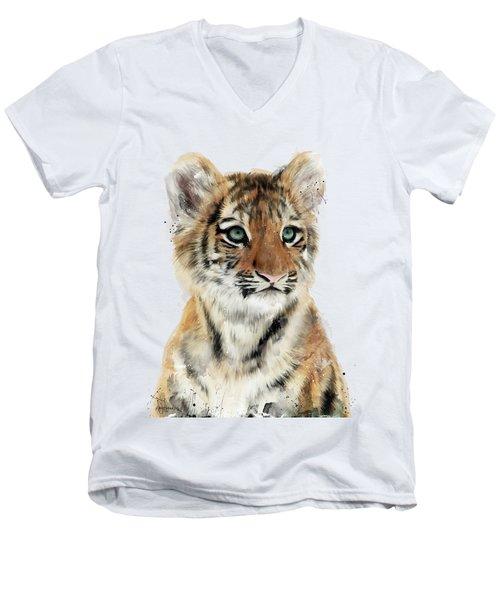 Little Tiger Men's V-Neck T-Shirt by Amy Hamilton