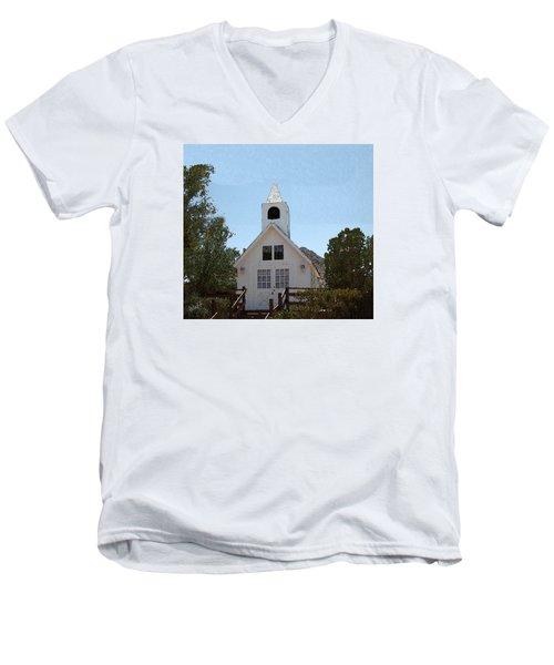 Men's V-Neck T-Shirt featuring the digital art Little White Church by Walter Chamberlain